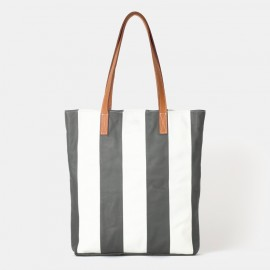 Striped Grey Tote Bag
