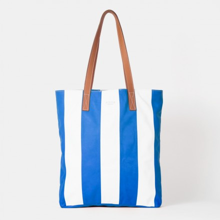 Striped Cobalt Blue Tote Bag
