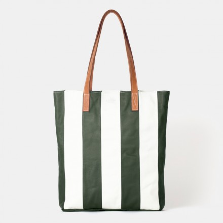 Striped Green Tote Bag