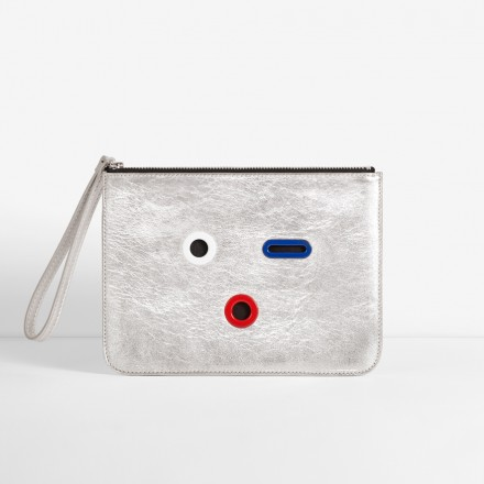 SMILEY Pouch. Silver