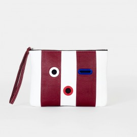 Striped SMILEY Pouch. Burgundy & White