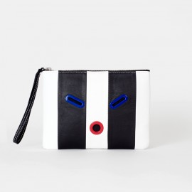 Striped SMILEY Pouch. Black & White