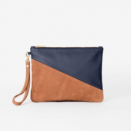 OSCAR Medium Pouch. Navy & Brown