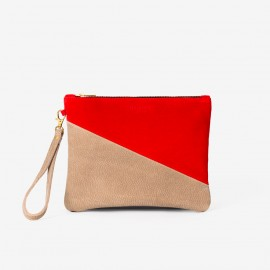 OSCAR Medium Pouch. Red & Taupe