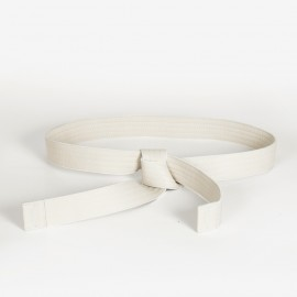 Leather Judo Belt. Off White