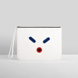 SMILEY POUCH. WHITE