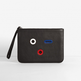 SMILEY POUCH. BLACK